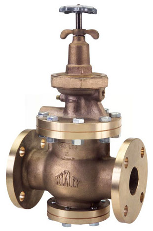Photo of a Keckley AA style bronze pressure reducing valve with flanged connections.