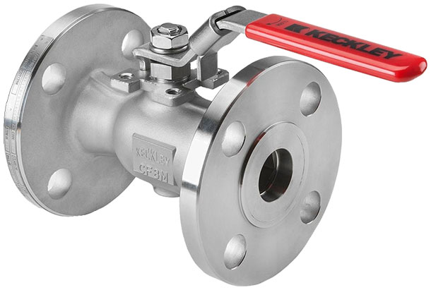 Photo showing a Keckley BVF1 unibody flanged ball valve typical of 1/2in to 1in design.