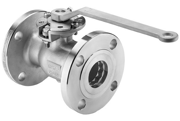 Photo showing a Keckley BVF1 unibody flanged ball valve typical of 1-1/2in to 6in design.