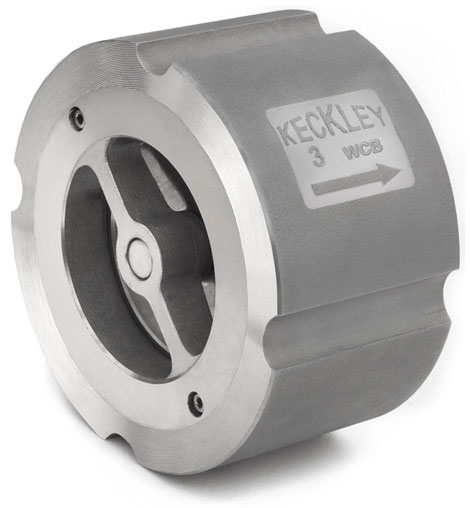 Photo of a Keckley CW style wafer silent check valve in carbon steel.