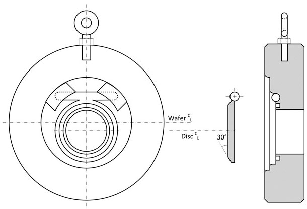 Diagram of a Keckley LP style long pattern wafer check valve in carbon steel.